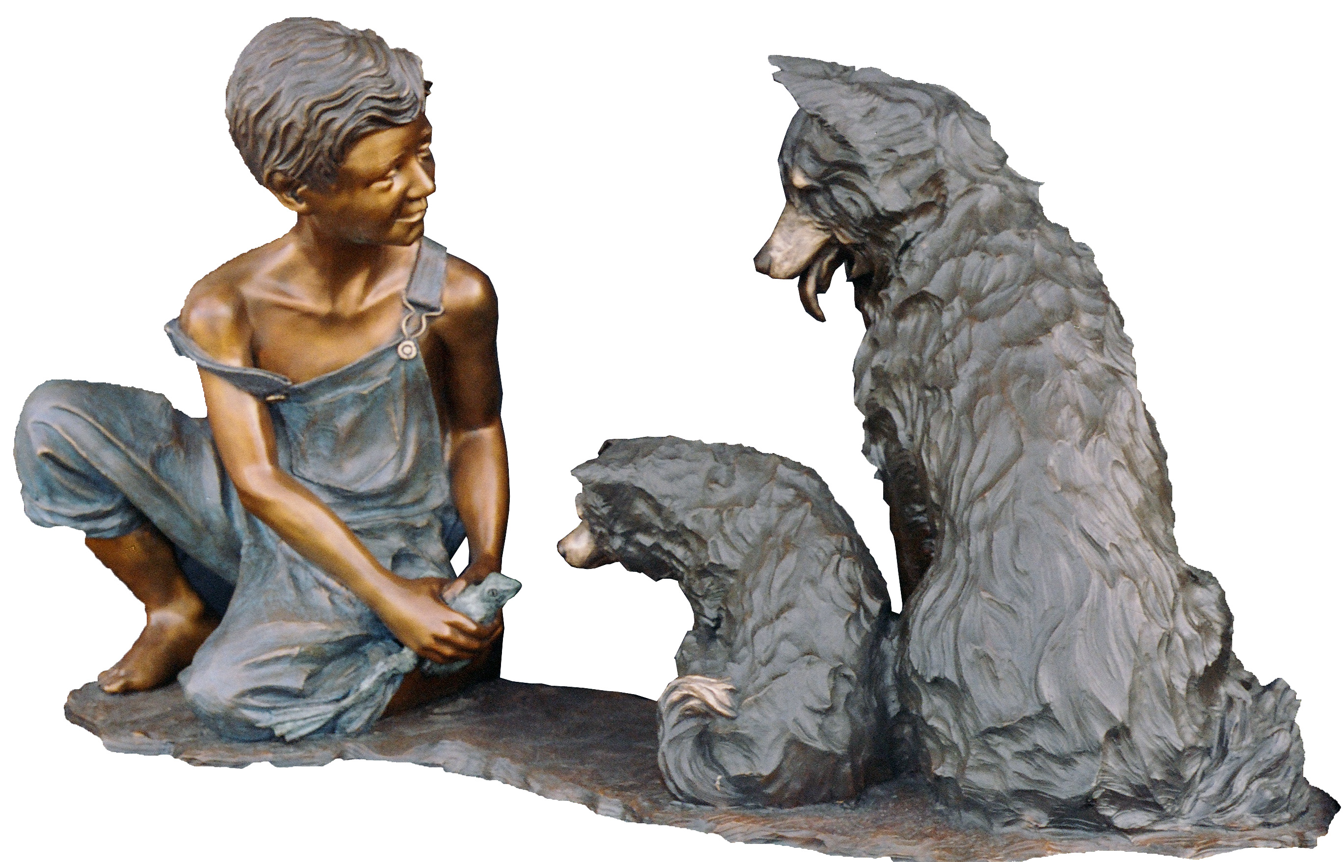 Pocketful of Trouble, bronze sculpture of a boy and his dogs by Colorado artist Greg Todd