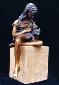 Bronze Sculpture Cat Nappin by artist Greg Todd