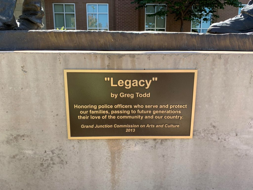 Legacy bronze sculpture by Colorado artist Greg Todd plaque